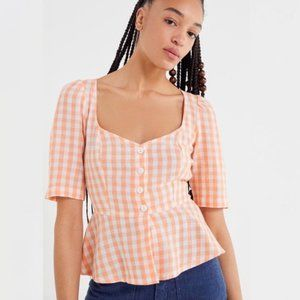 UO Penrose Linen Button Front Peach Gingham Top